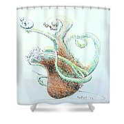 Planter With Whale Shower Curtain