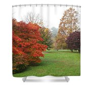 Planting Fields Red Tree Shower Curtain