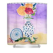 Plate And Flowers Shower Curtain