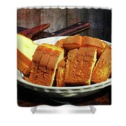 Plate With Sliced Bread And Knives Shower Curtain