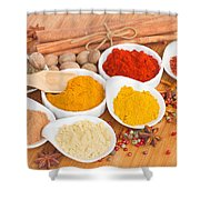 Plates Of Spices  Shower Curtain