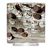 Plates With Numbers Shower Curtain