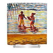 Play Day At Jobos Beach Shower Curtain
