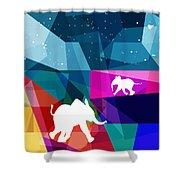 Playful Baby Elephant Shower Curtain