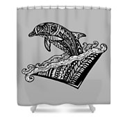 Playful Dolphin Zentangle Shower Curtain