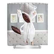 Playful Young Woman Jumping On The Bed , A Pillow Fight Shower Curtain