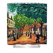 Playing Boules In St Paul De Vence Shower Curtain by Ronald Haber