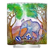 Playing By The Baobab Tree Shower Curtain