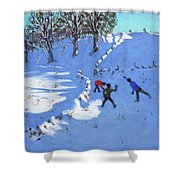 Playing In The Snow Youlgrave, Derbyshire Shower Curtain
