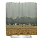 Playing On The Foggy Beach  Shower Curtain