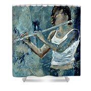 Playing The Flute Shower Curtain