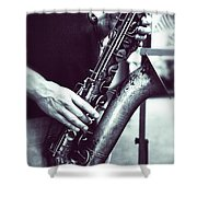Playing The Saxophone Shower Curtain