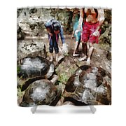 Playing With Giant Tortoises Shower Curtain