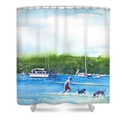 Playing With The Dogs At Rose Bay Shower Curtain