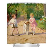 Playing With The Hoop Shower Curtain by Victor Gabriel Gilbert