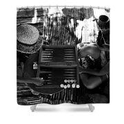 playng backgammon Sinai Egypt Shower Curtain