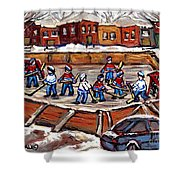 Playoff Time At The Local Hockey Rink Montreal Winter Scenes Paintings Best Canadian Art C Spandau Shower Curtain