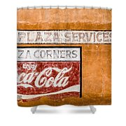Plaza Corner Coca Cola Sign Shower Curtain