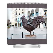 Nude On Rooster Shower Curtain