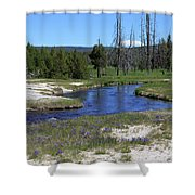 Pleated Gentians Beside Iron Creek In Black Sand Basin Shower Curtain