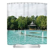 Plovdiv Singing Fountains - Bright Aquamarine Water Dancing Jets And Music Shower Curtain