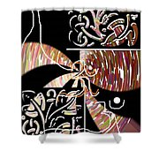 Plum And Black Shower Curtain