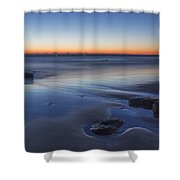 Plum Island Blue And Red Dawn Shower Curtain