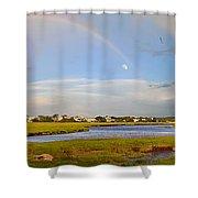 Plum Island Rainbow Shower Curtain