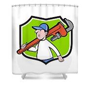 Plumber Holding Monkey Wrench Crest Cartoon Shower Curtain