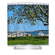 Plymouth Harbor Shower Curtain