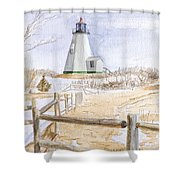 Plymouth Light In Winter Shower Curtain