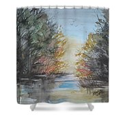 Pm River Sunset Shower Curtain