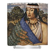 Pocahontas Wears A Turkey-feather Robe Shower Curtain
