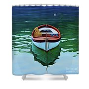 Coastal Wall Art, Poetic Light, Fishing Boat Paintings Shower Curtain