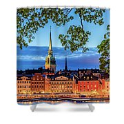 Poetic Stockholm Blue Hour Shower Curtain
