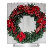 Poinsettia Wreath Shower Curtain