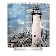 Point Aux Barques Lighthouse Shower Curtain