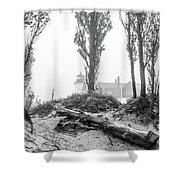 Point Betsie Lighthouse In Fog Shower Curtain