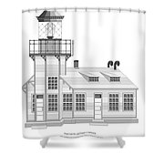 Point Cabrillo Architectural Drawing Shower Curtain