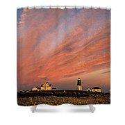 Point Judith Lighthouse Sunset Shower Curtain