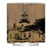 Point Pinos Lighthouse Antiqued Shower Curtain