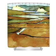 Point Reyes, Ca, Drakes Beach Estuary, Midday Tide, Watercolor Plein Air Shower Curtain