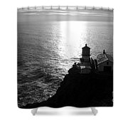 Point Reyes Lighthouse - Black And White Shower Curtain
