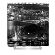 Point State Park In Black And White Shower Curtain