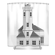 Point Wilson Architectural Drawing Shower Curtain
