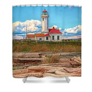 Point Wilson Lighthouse And Driftwood Shower Curtain