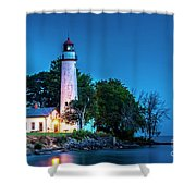 Pointe Aux Barques Lighthouse At Dawn Shower Curtain