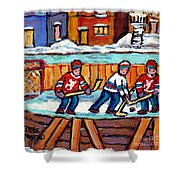 Outdoor Hockey Rink Painting  Devils Vs Rangers Sticks And Jerseys Row House In Winter C Spandau Shower Curtain