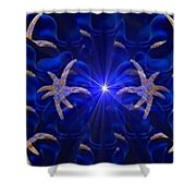 Pointelist Abstract In Blue Catus 1 No. 1 H B Shower Curtain