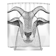 Farm Goat In Pointillism Shower Curtain